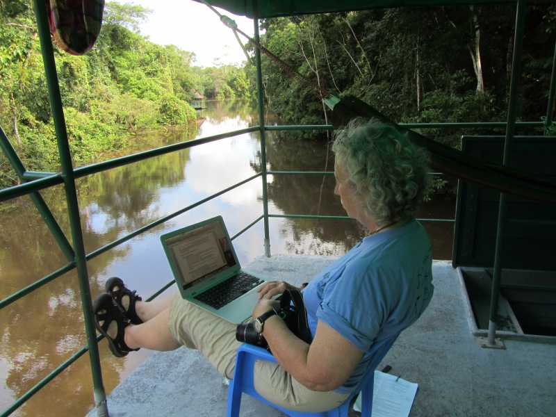 Me on the Oroso, a tributary of the Amazon, journaling just once