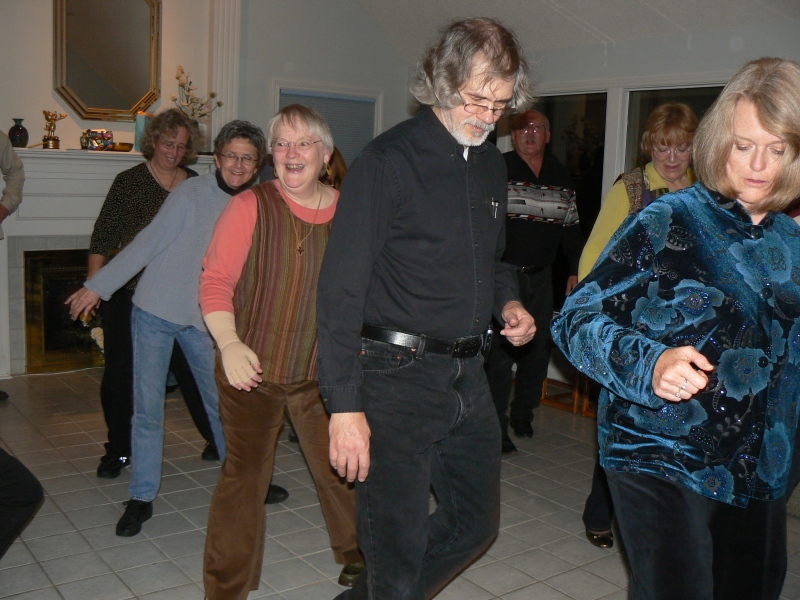 Line Dancing, there's Barry, Jane (not me), and Karen, a little bit of Libby.